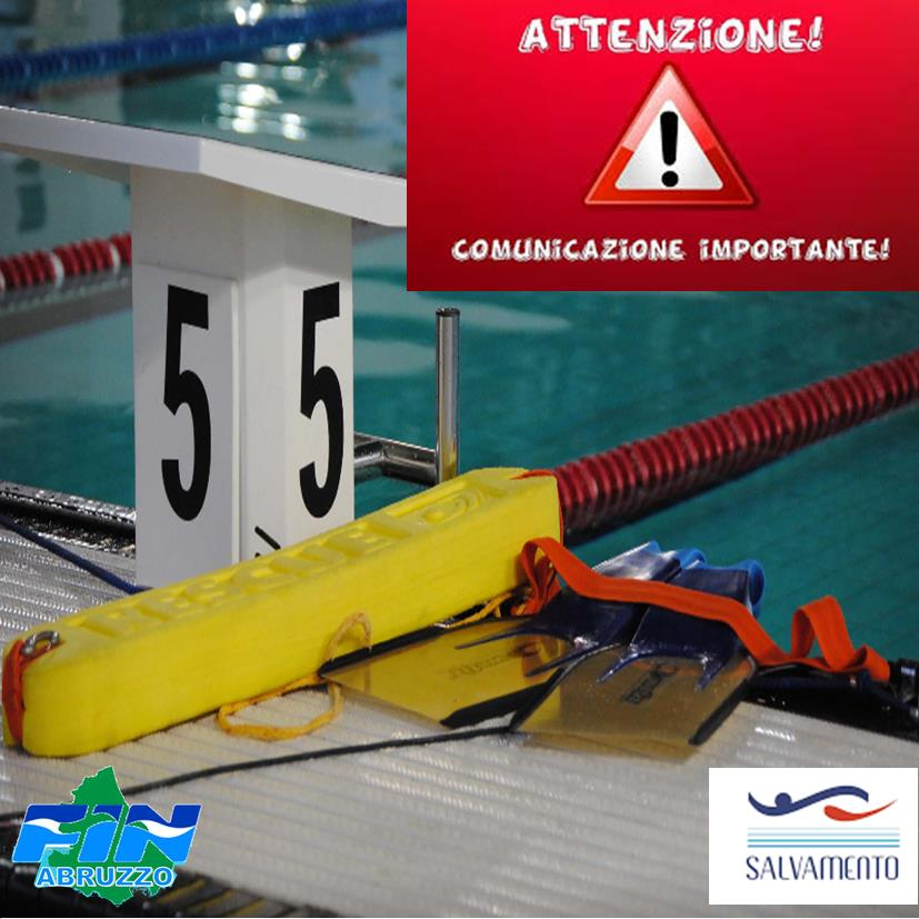 COMUNICAZIONE IMPORTANTE Campionati Regionali Estivi di Categoria Lifesaving